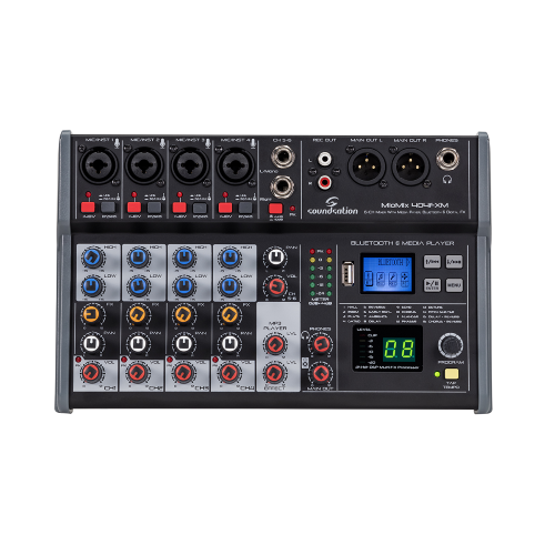 Mixer audio SOUNDSATION MIOMIX 404FXM MULTIMEDIA- Mixer Audio Professionale 6-Canali con Lettore USB, BT e Multi-Effetto Digitale a 24-bit